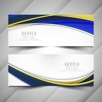 Abstract colorful wavy elegant banners set vector
