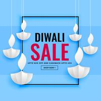 diwali sale banner with paper diya design