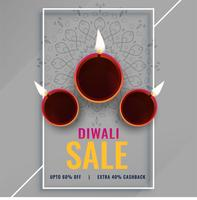 diwali sale poster with festival diya lamps
