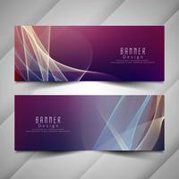 Conjunto de banners ondulado colorido elegante abstracto