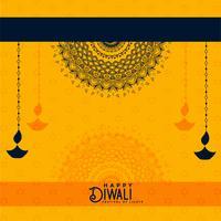 happy diwali yellow decorative background