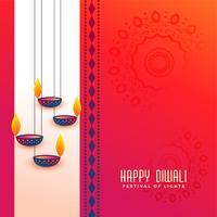 Indiase diwali festival groet met hangende diya ontwerp