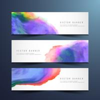 Abstract watercolor banners set
