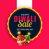 happy diwali sale promotion banner template with crackers