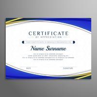 Modelo de design de certificado bonito ondulado abstrata