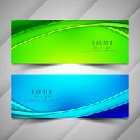 Conjunto de banners ondulado colorido abstracto