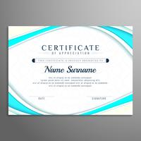 Abstract stylish wavy certificate design template