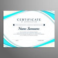 Modelo de design de certificado ondulado elegante abstrata