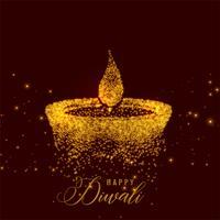kreativ diwali diya gjord med guldpartiklar