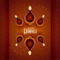 mooie diwali diya lampen op decoratieve achtergrond