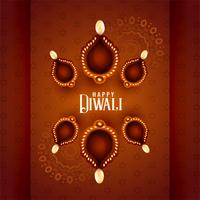 beautiful diwali diya lamps on decorative background