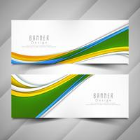 Abstract colorful modern wavy banners set