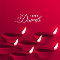 stylish happy diwali red diya background