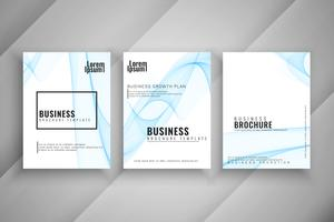 Abstract business brochure wavy template set