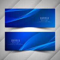 Abstract blue wavy banners set vector