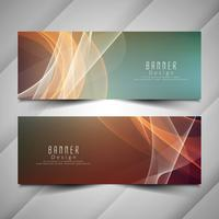 Set di bandiere ondulate elegante colorato astratto