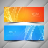 Abstract bright wavy elegant banners set