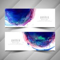 Abstrakt färgglada vattenfärg banners uppsättning