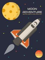 Vetores de cartaz de viagem única lua
