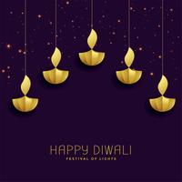 happy diwali festival greeting with golden diya
