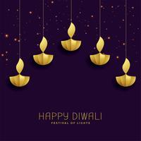 joyeux festival de diwali salutation avec diya d'or