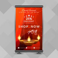 Abstract stylish Happy Diwali roll up banner design template