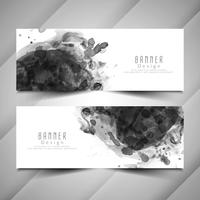 Abstract black watercolor banners set