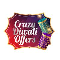 crazy diwali sale template design with cracker