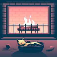 Katt framför eldstaden