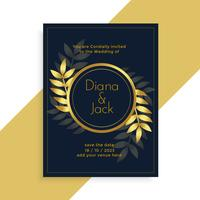 premium golden leaves wedding card design