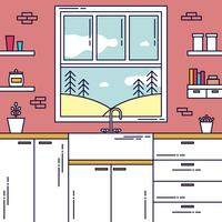 Kitchen Window View Vector