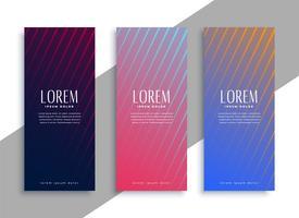 elegant line vertical banner set