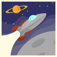 Vintage Spaceship Voyager Poster Vector Illustration