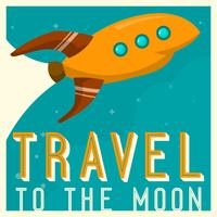 Vintage Space Ship Travel to the moon Poster Vector Illustration