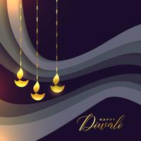beautiful happy diwali greeting with golden diya