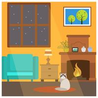 Flat Cute Cat Sit Down in Front of Fireside Vector Illustration