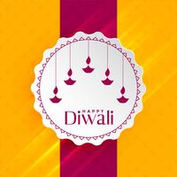 feliz diwali saudação com diya de suspensão