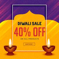 happy diwali creative sale banner with two diya