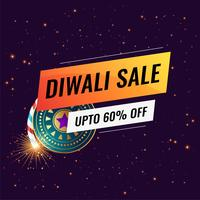 happy diwali sale banner template with crackers
