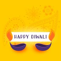yellow happy diwali background with two diya