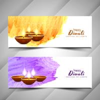 Abstract Happy Diwali banners set