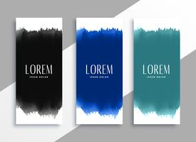 watercolors banners set in different colors