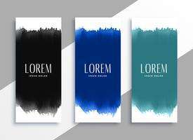bannières d'aquarelles dans différentes couleurs