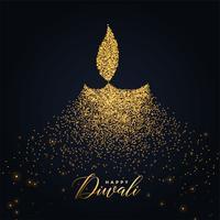glad diwali diya design gjord med glödande partiklar