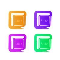 Conjunto de distintivo de ícones coloridos banner abstrato