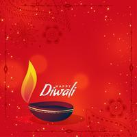 Diya diwali criativo sobre fundo vermelho, com espaço de texto
