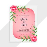 beautiful wedding card design with flower elements
