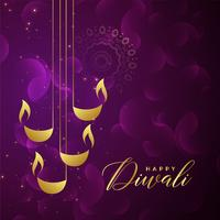 creative golden diwali diya design on purple shiny background