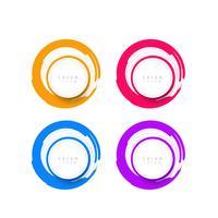 Abstrakt moderna färgstarka bannerikoner märkesuppsättning