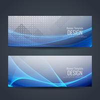 Abstract colorful wavy stylish banners set vector